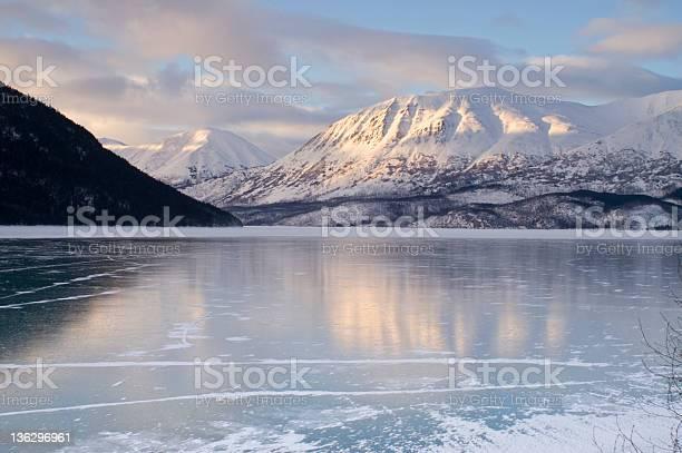 Photo of Dramatic View Mountains at Sunset and Frozen Kenai Lake Alaska