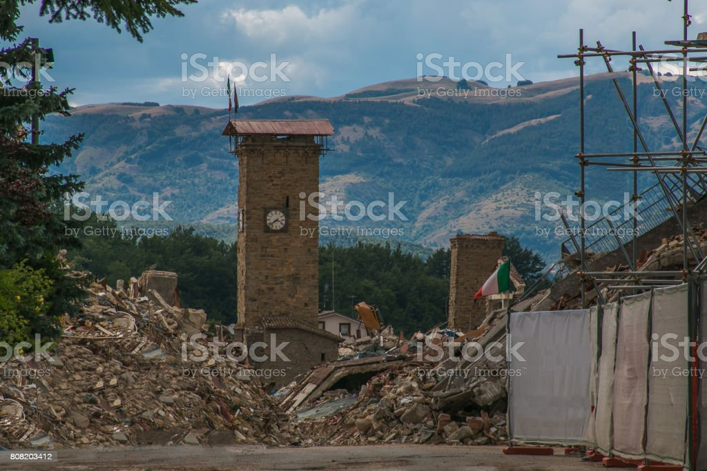 Dramatic view of Amatrice destroyed by earthquake stock photo