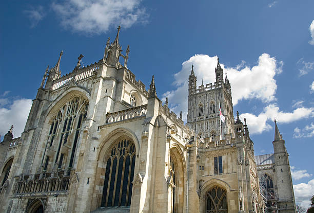 Dramatic View Of Gloucester Cathedral In The UK stock photo
