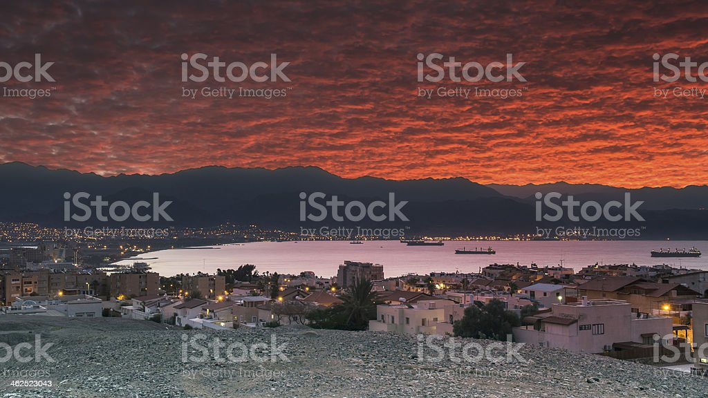 Dramatic view on Aqaba, Eilat and Red sea stock photo