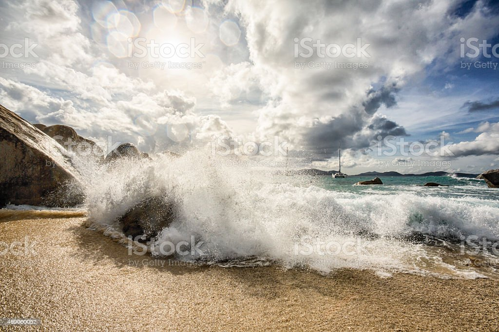 Dramatic Waves at The Baths in Virgin Gorda stock photo