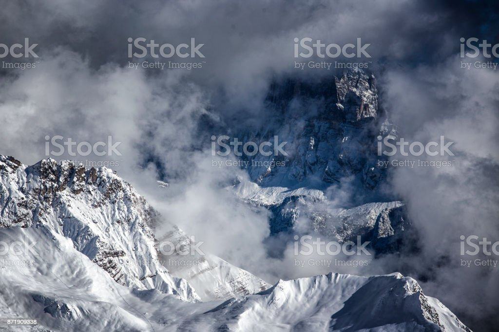 dramatic weather landscape in mountains stock photo