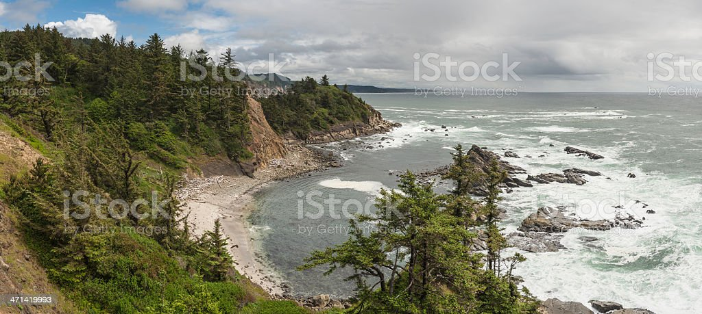 Dramatic wild coast Pacific Ocean panorama Oregon stock photo