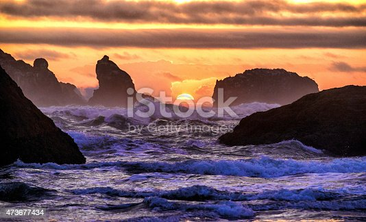 Crashing waves among the sea stcks along the Oregon coastline near Bandon, Oregon