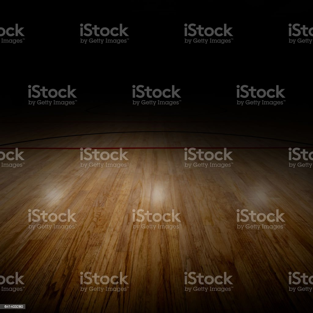 Dramatically Lit Basketball Arena and Copy Space stock photo