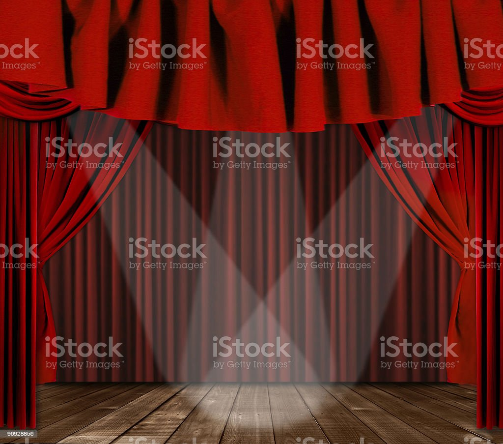 Draped Stage With 3 Lights royalty-free stock photo