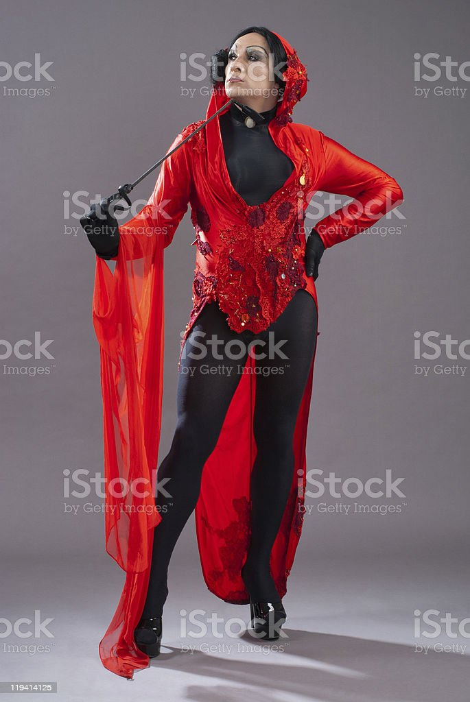 Draq quuen with red and black dress royalty-free stock photo