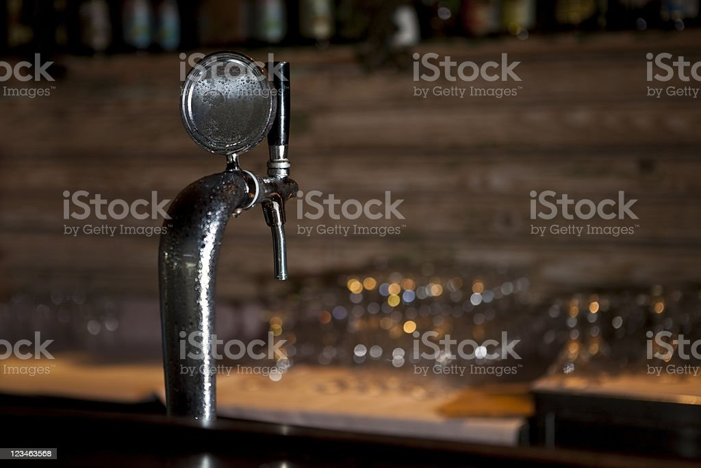 Draught Beer Tap in a Bar stock photo