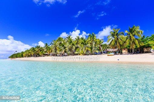Beach on a tropical island with clear blue water. Dravuni Island, Fiji.