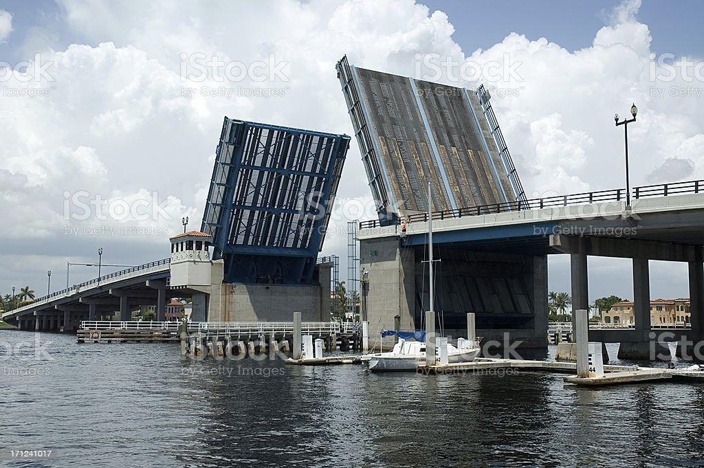 Draw Bridge open stock photo