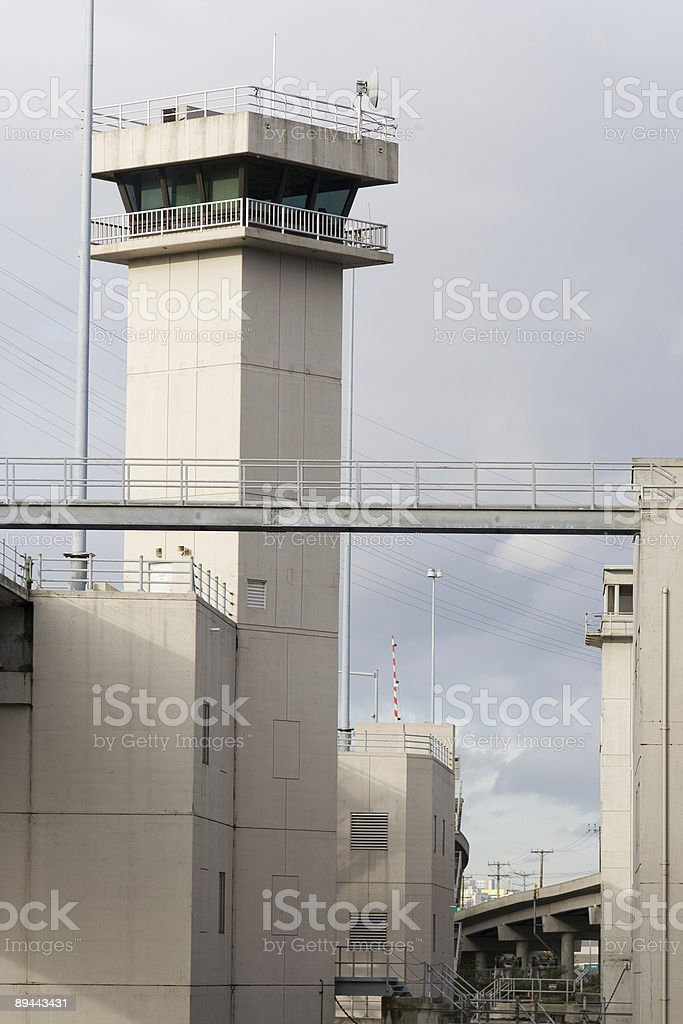 Draw bridge tower on overcast day royalty-free stock photo