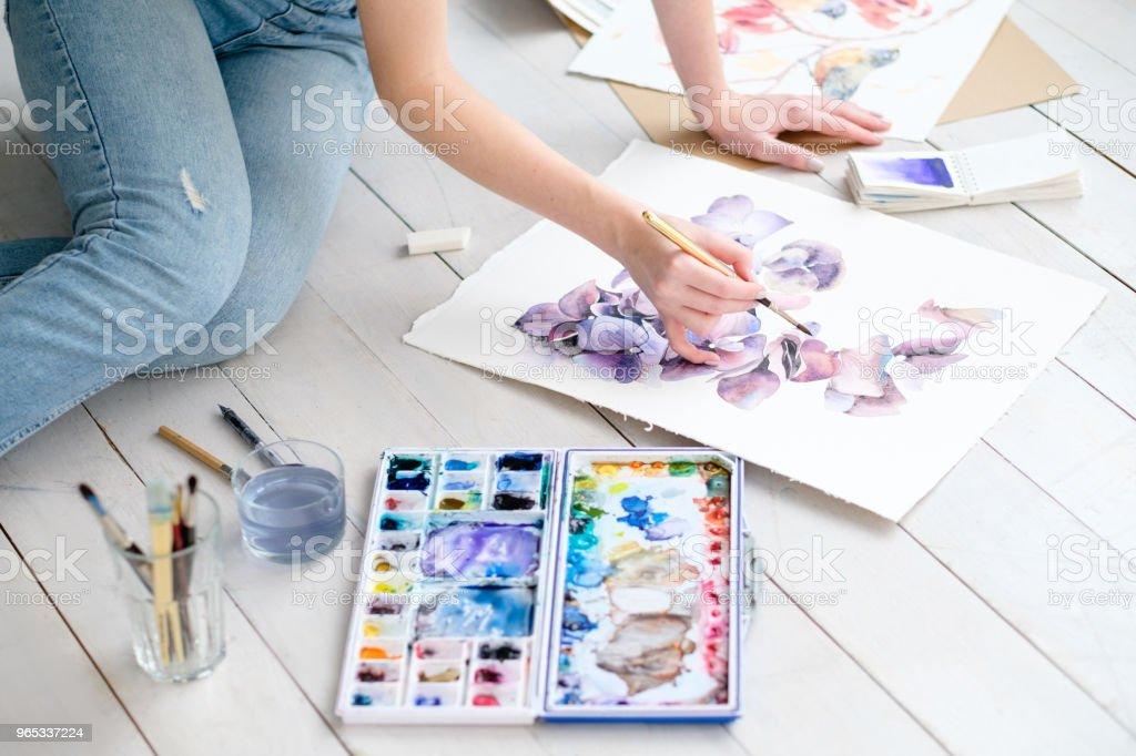 compétence artistique peinture loisirs aquarelle dessin - Photo de Adulte libre de droits