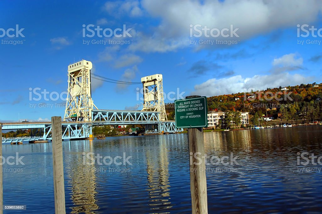 Drawbridge and Morning reflection stock photo