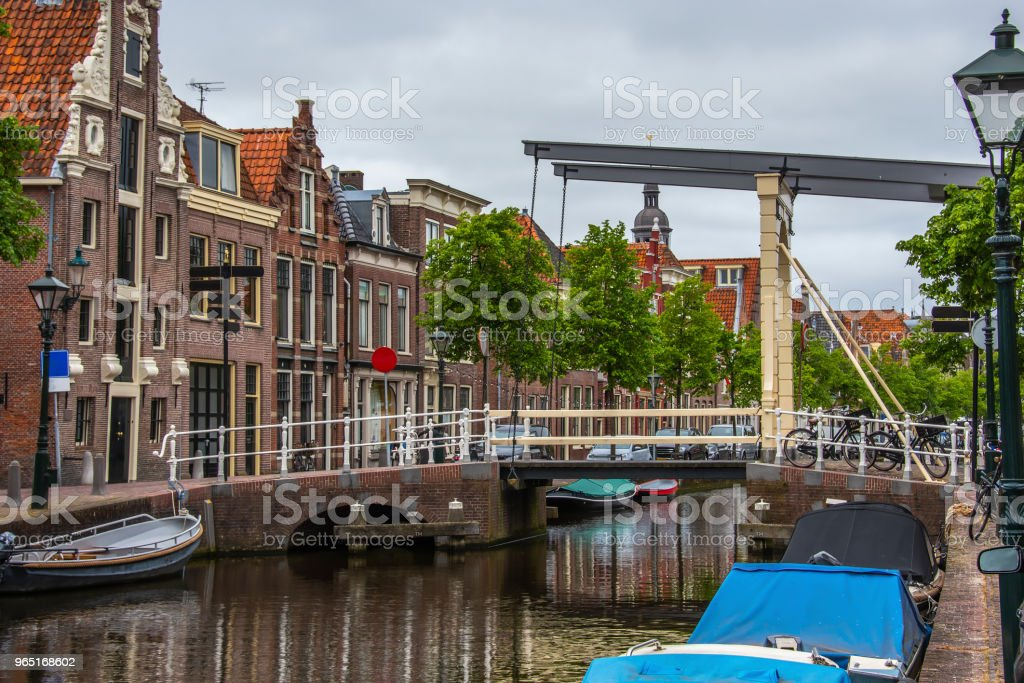 Drawbridge detail and houses in Alkmaar. netherlands holland royalty-free stock photo
