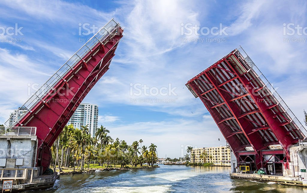 Drawbridge in Miami ,North West 17 Avenue stock photo