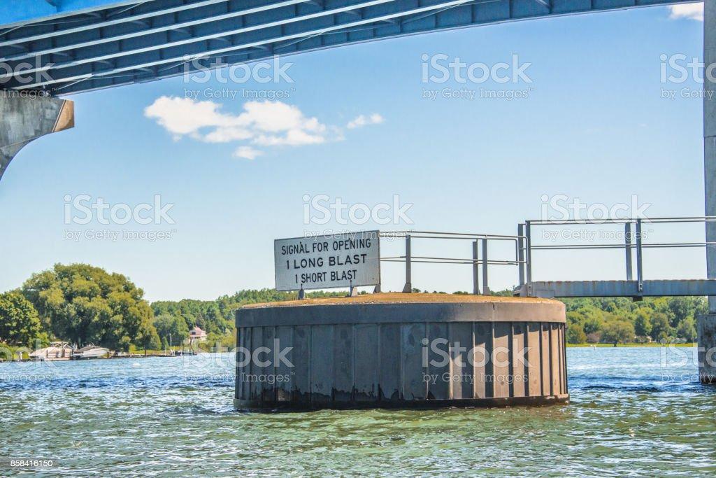 Drawbridge instruction sign stock photo