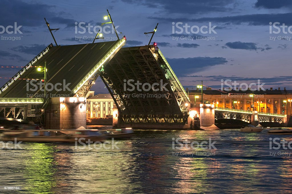 Drawbridge of Sankt-Peterburg stock photo