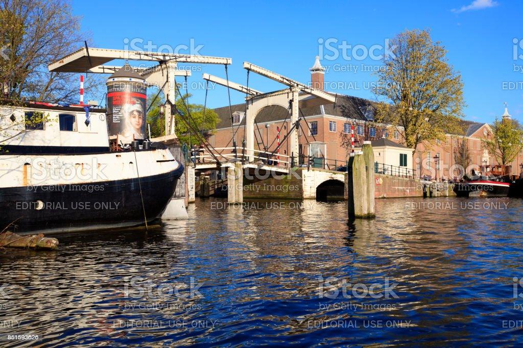 Drawbridge on a canal in Amsterdam stock photo