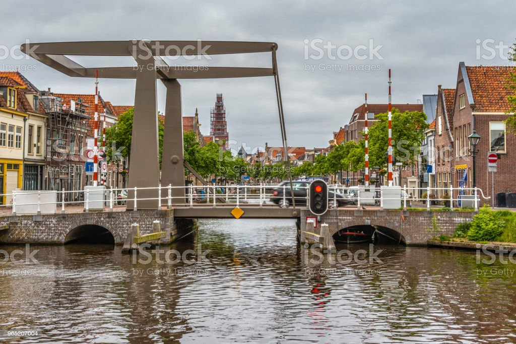 Drawbridge on one of the main channels of Alkmaar Netherlands Holland royalty-free stock photo