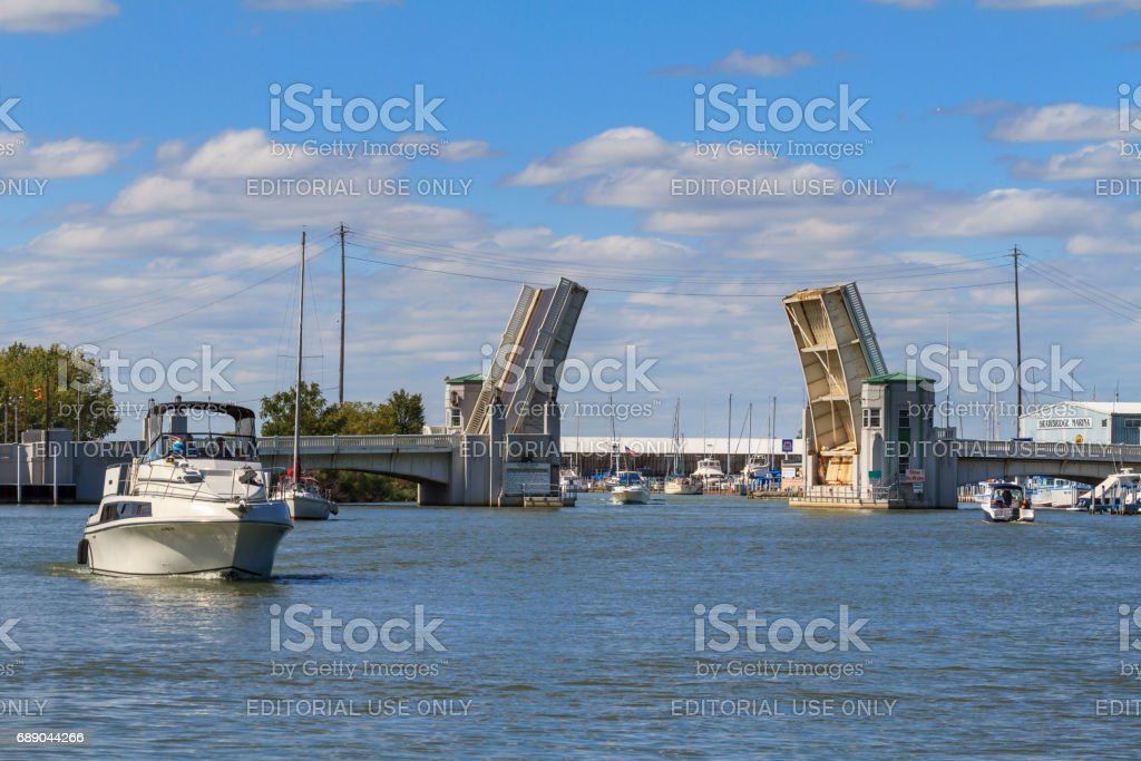 Drawbridge over Portage River stock photo