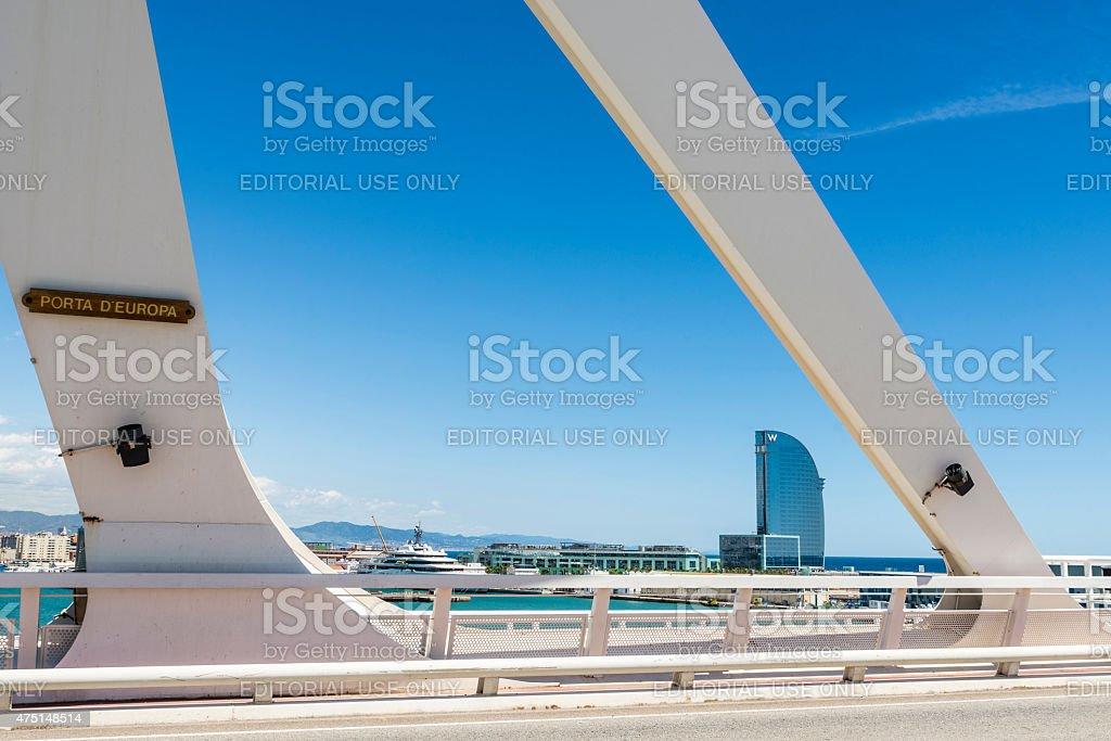 Drawbridge over the port of Barcelona, Spain stock photo