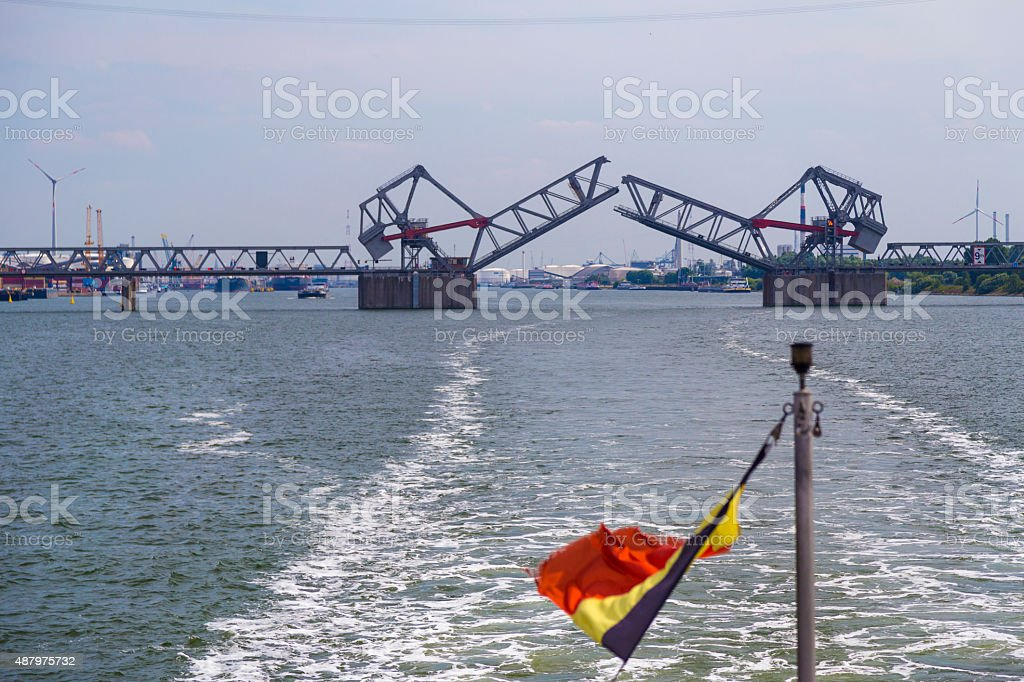 Drawbridges in Port of Antwerp stock photo