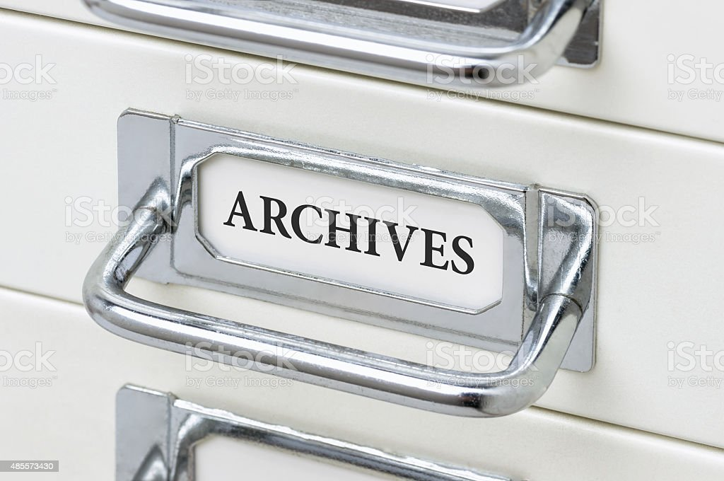 Drawer cabinet with the label Archives stock photo