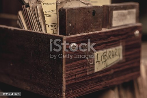Close up of a drawer from a disused library catalogue.  Belfast, Northern Ireland.
