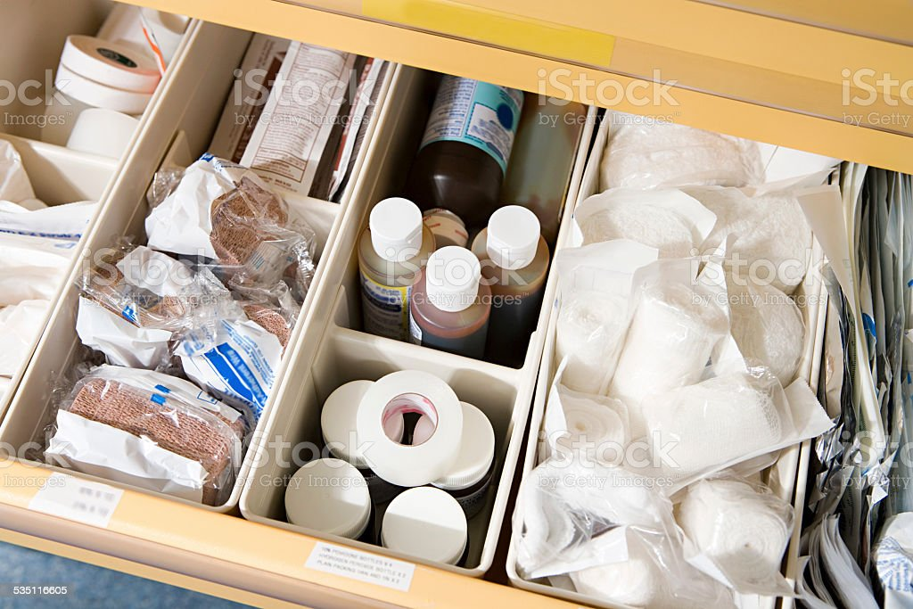 Drawer of medical supplies stock photo