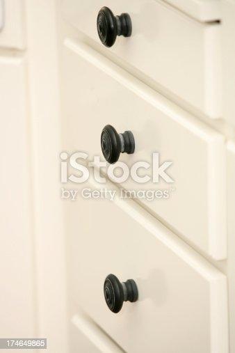 Black metal cabinet pulls(knobs) on white drawers.