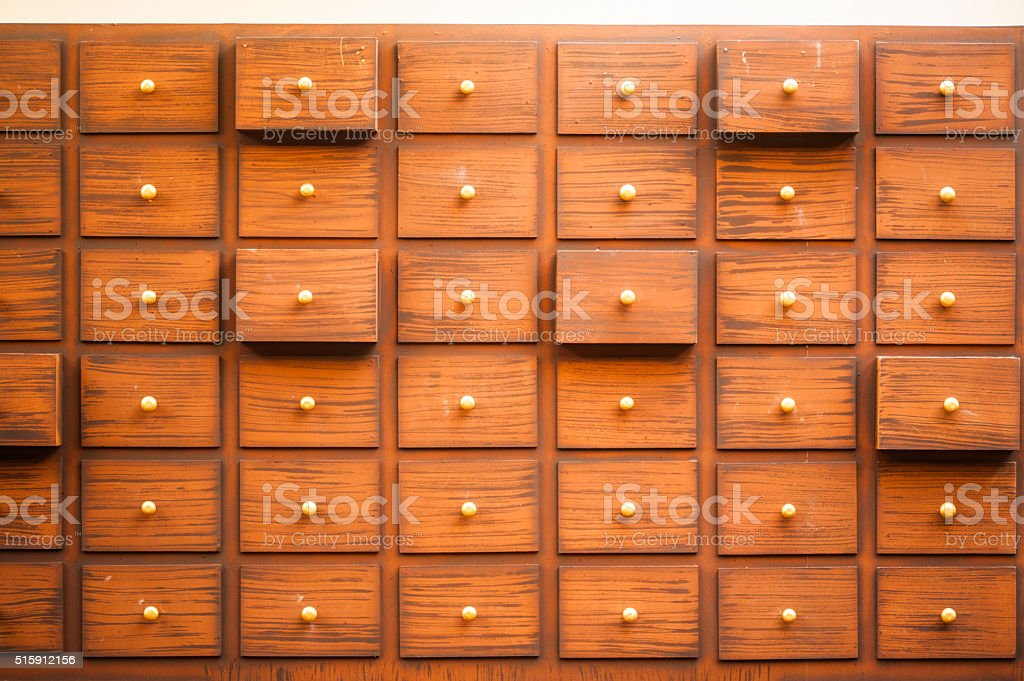 Drawers with blank tags. stock photo