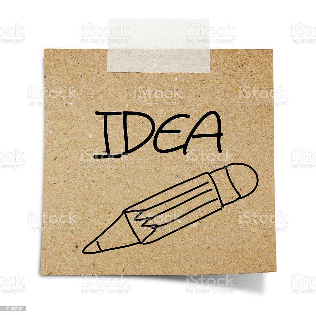 drawin pencil note taped recycle paper on white background royalty-free stock photo