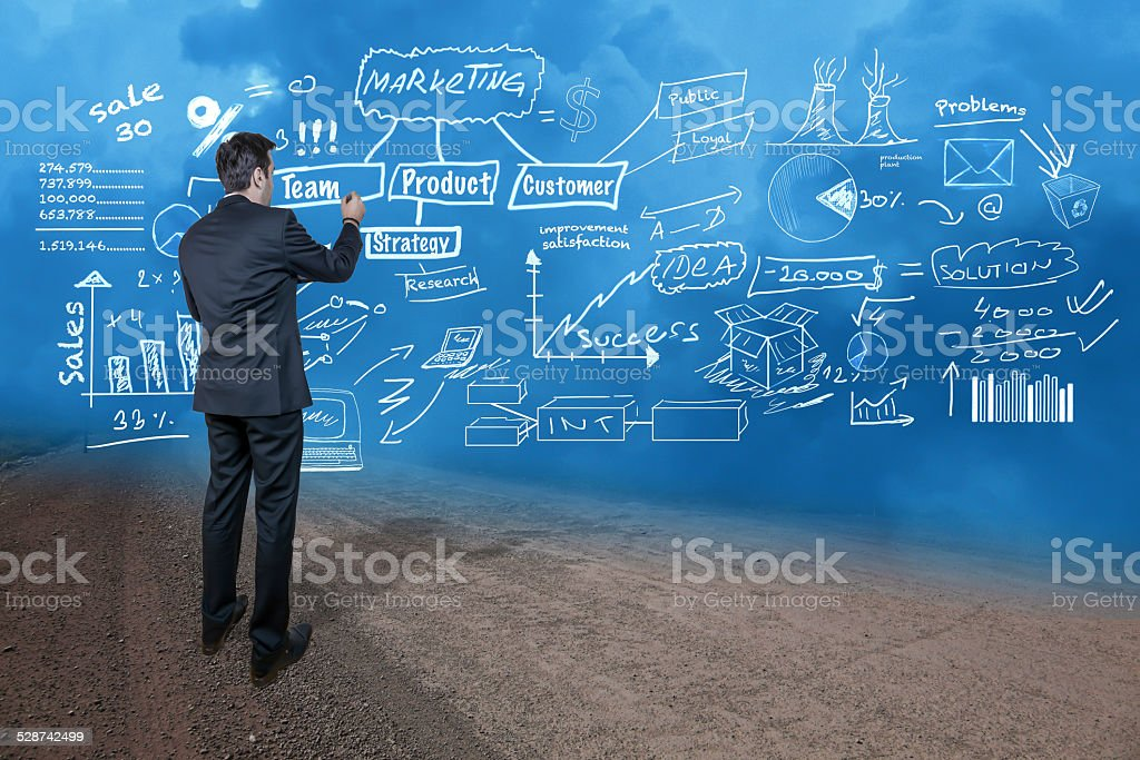 Drawing a business concept stock photo