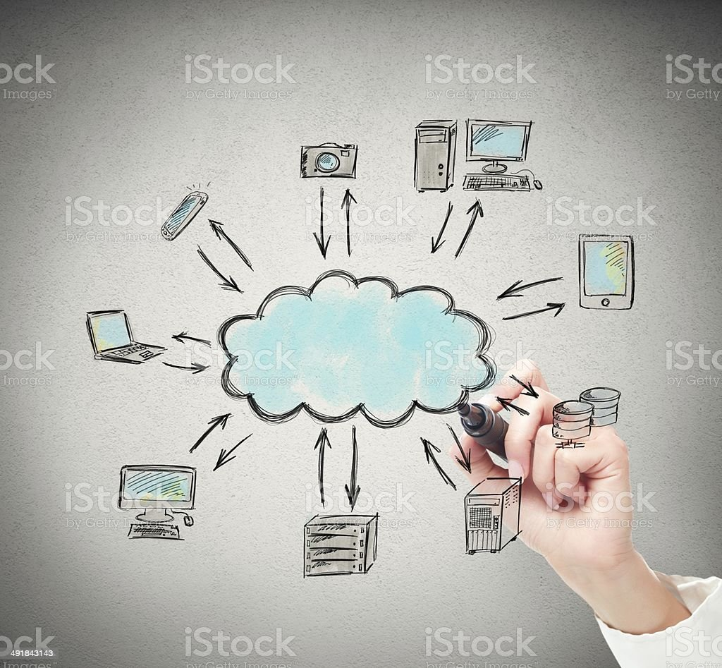 Drawing a cloud computing solution stock photo