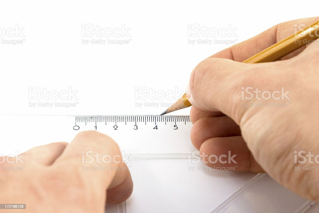 drawing a line with rule stock photo