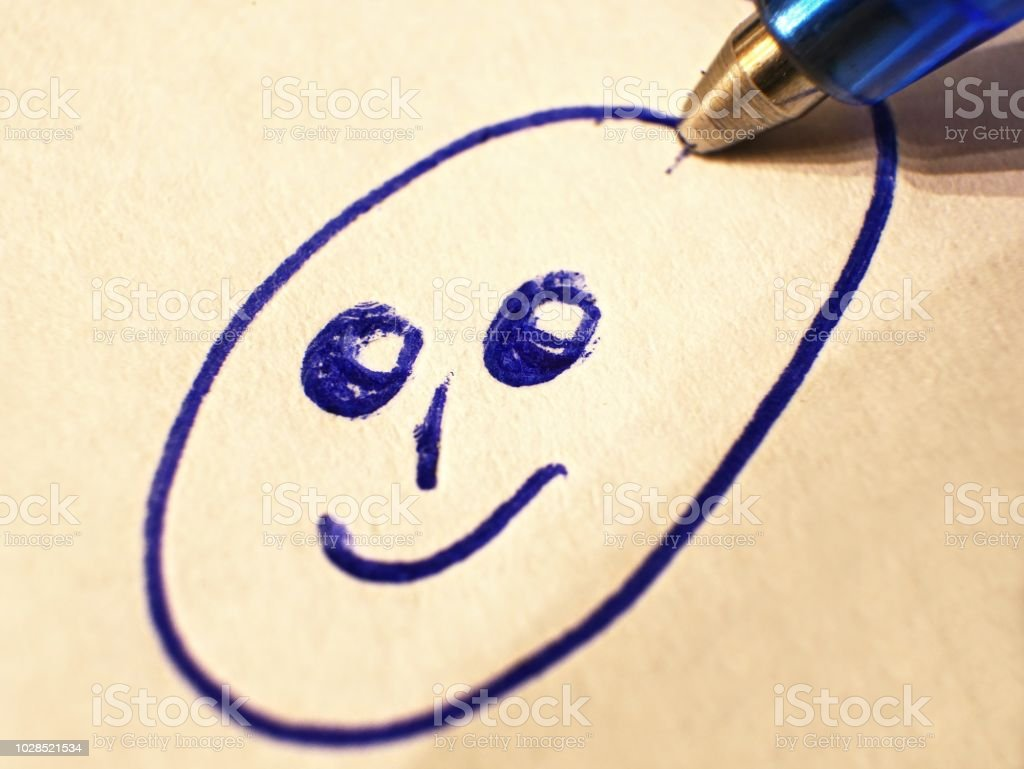 drawing a smiley with blue ballpoint pen, white paper, blue ink,...