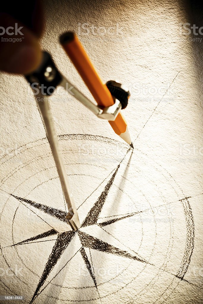 Drawing a Wind Rose royalty-free stock photo