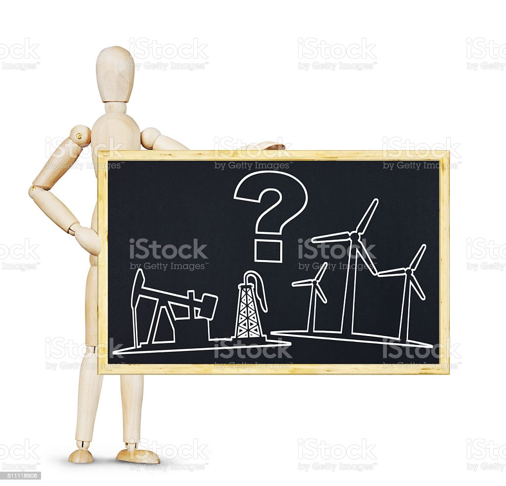 Drawing about choices between renewable energy and oil production stock photo