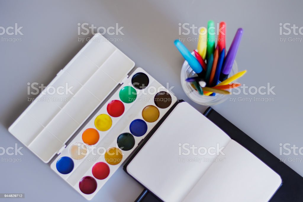 Drawing accessories stock photo