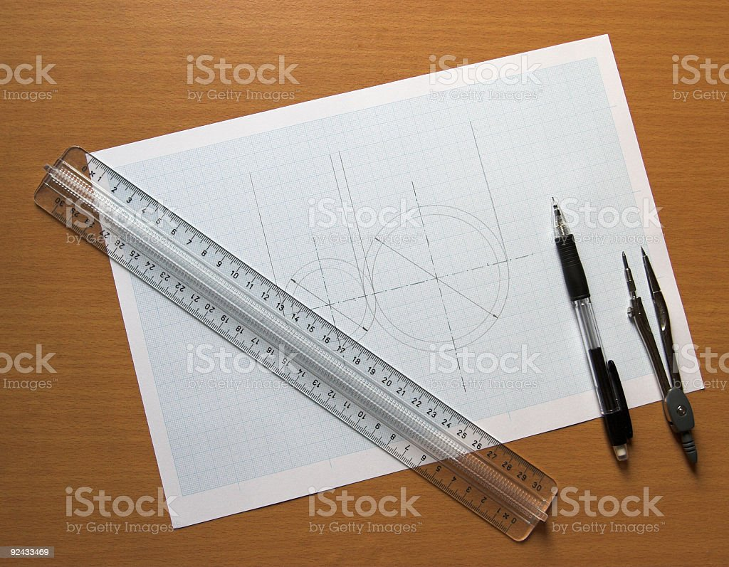 Drawing and construction2 royalty-free stock photo