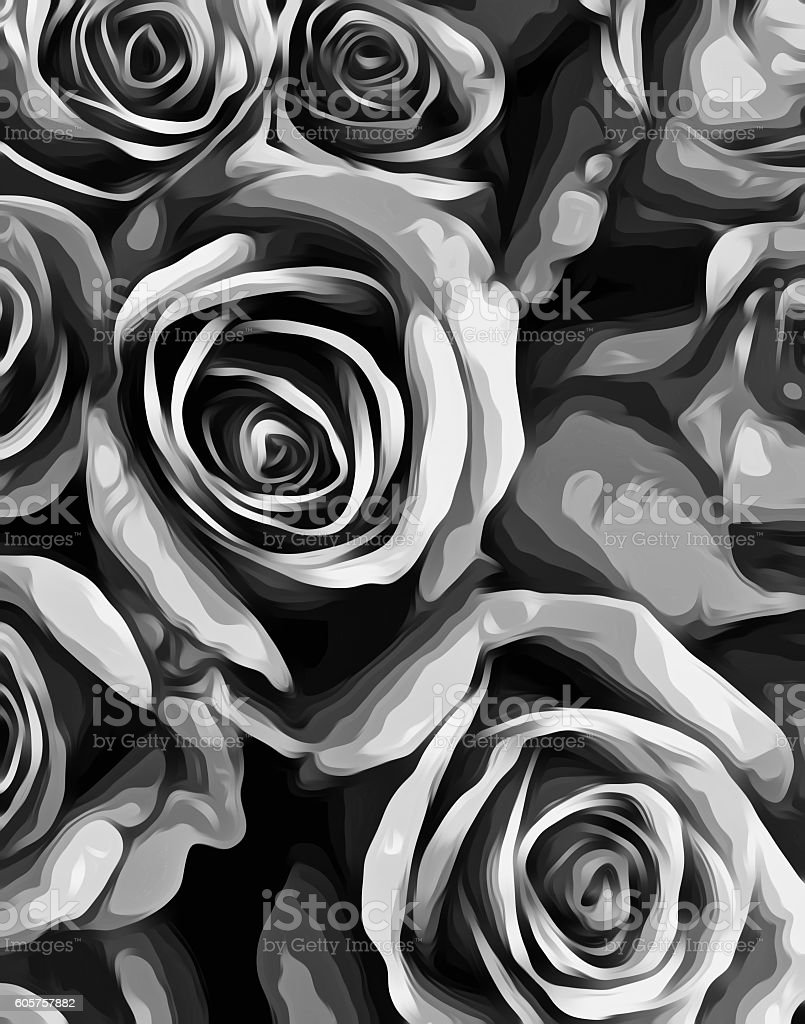 Drawing And Painting Roses Texture In Black And White Stock Photo