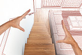 Drawing and planned Hardwood stairs and ramp in modern renovated living room