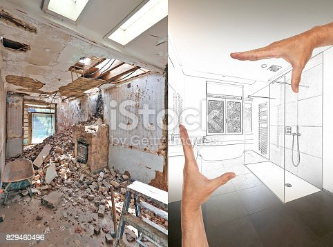 istock Drawing and planned Renovation of a bathroom 829460496
