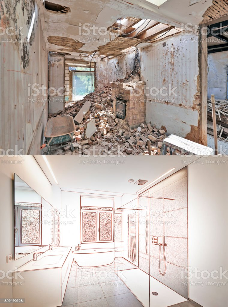 Drawing and planned Renovation of a bathroom stock photo