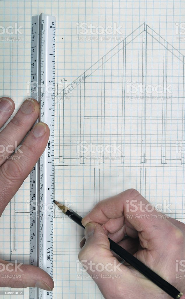 Drawing and planning for a house blueprint design royalty-free stock photo