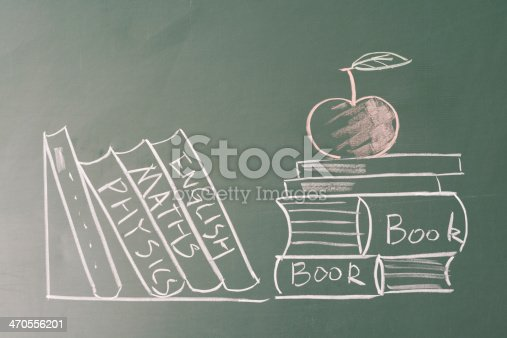 istock drawing apple and books on blackboard 470556201