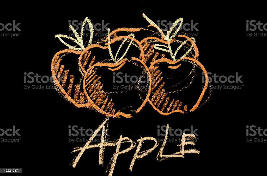 Drawing apple by chalk on blackboard royalty-free stock photo