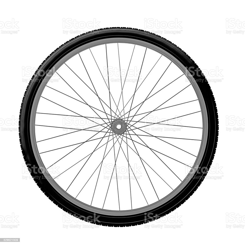 Drawing bicycle wheel stock photo