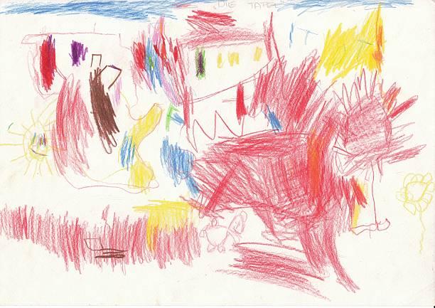 zeichnung von einem 4-jahre alten kinder-unser gruppenraum - naive malerei stock-fotos und bilder