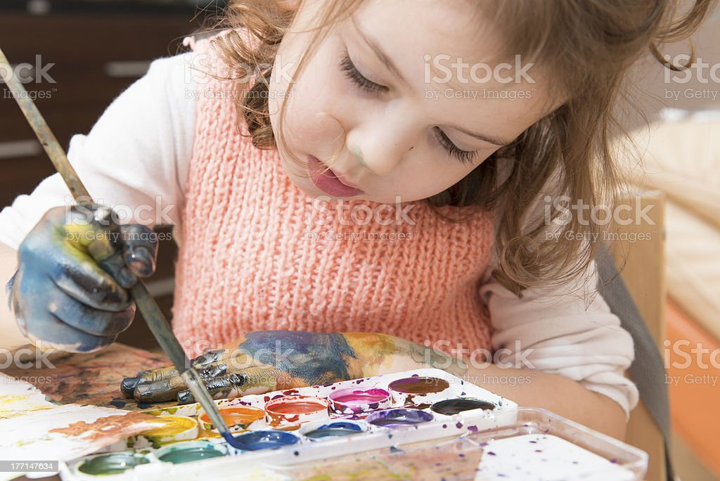 drawing by paints royalty-free stock photo